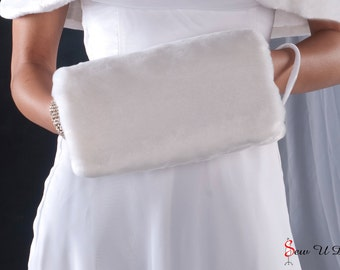 Bride's Faux Fur Muff winter wedding regular size handwarmer Available in white, diamond, cream or black faux fur beaver