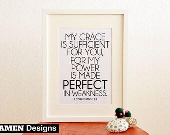 My Grace is Sufficient. 2 Corinthians 12:9. 8x10 DIY Printable Christian Poster. PDF. Bible Verse.