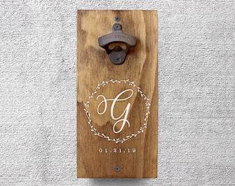 Custom Wall Mount Bottle Opener, Personalized Gift, Wedding Gift, Groomsmen Gift, Newlywed Gift, Beer Lover Gift, Christmas Gifts GA8029