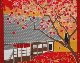 Furoshiki Cloth Japanese Fabric Square 'Tama the Cat Under Maple Leaves' Cotton Orange Yellow and Red 50cm w/Free Insured Shipping