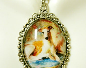 Red and white greyhound pendant with chain - DAP09-517