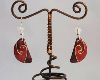 Cloisonné, purple and Red enamel earrings