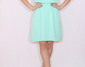 Mint green bridesmaid dress Short dress Chiffon dress Keyhole dress