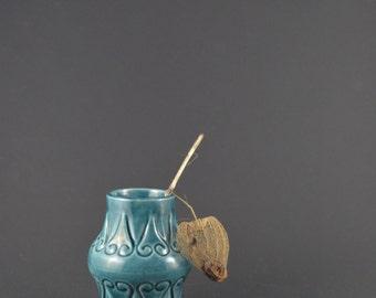 50 % OFF Tiny Vintage Vase, Bay Vase, Mid-Century Modern Vase, Vintage Miniature Vase, Small Bud Vase, Miniature German Pottery Blue Vase