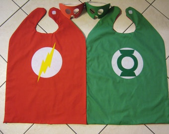 Reversible Flash Green Lantern Super Hero Cape Boys Mask Costume