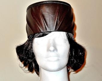Brown Cowhide Leather Pleated Tassel Hat