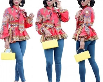 African Dashiki Red Peplum Tops US-XL / 10