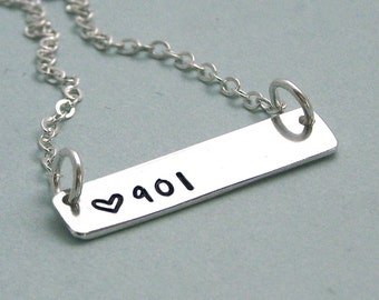 901 Trendy Bar  Necklace - Sterling Silver Hand Stamped Necklace - I love Memphis - I love Tennessee