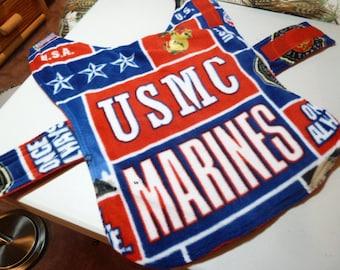 "Small - (14-16"" Long) US Marines Military Fleece Dog Coat"