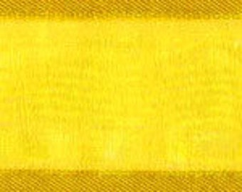"""CLEARANCE! - 5/8"""" Morex Delight Ribbon - Yellow Sheer with a Satin Edge - 25 Yard Rolls - 2 Rolls Left!"""
