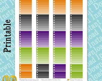 Halloween Checklist Printable Planner Stickers, Orange, Gray, Green & Purple Ombre, Full Box Vertical Planner Printables, ombre checklist
