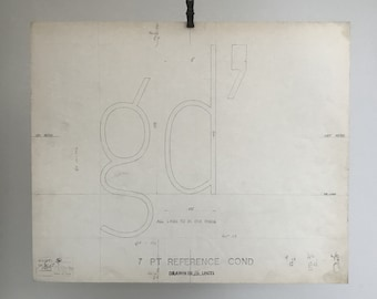 Letters gd, 1967 original font casting drawing, typographic drawing. Gift for a graphic designer or typographer.