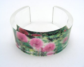 Allium Bangle Acrylic, Perspex Cuff Purple Green Floral Design, Handmade by Jessica Sherriff