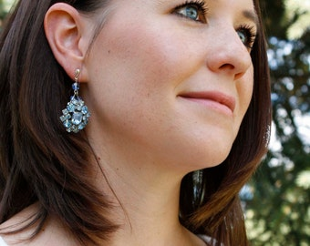 Vintage Blue Rhinestone Cluster Earrings in Silver - Repurposed, Statement, Wedding