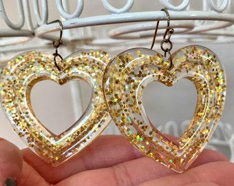Vintage Large Glitter Heart Shaped Dangle Earrings