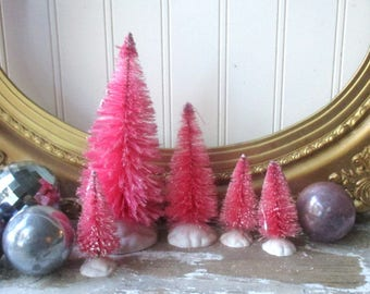 5 Hot Pink Bottle brush tree Bottlebrush trees Vintage Style Putz village Farmhouse Christmas Romantic Chic Holiday decor