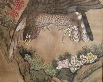 Antique Chinese Painting on Silk Eagle Chinoiserie Decor
