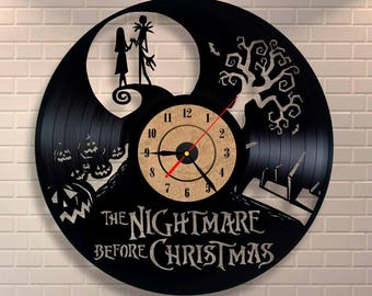 Nightmare before christmas decor vinyl wall record clock, You are simply meant to be together.