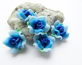 Polymer Clay Fimo Rose Beads Fimo Blue Rose Beads Rose Flower 20 mm Rose Fimo Beads Jewelry Supply (5)