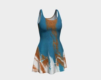 Turquoise Marble - Fine Art All Over Print Flare Dress