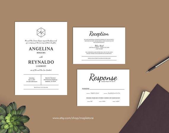Sechseck Einladung Monogramm Hochzeit Einladen Druckbare