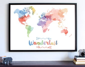 Wanderlust Watercolor World Map, World Map Print, Personalize World Map, Large Watercolor World Map, Watercolor Art Print, Housewarming Gift