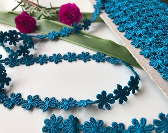Teal Cotton Lace Trim, Sewing Lace Trim, Dark Turquoise Trim, Cotton Lace by the yard, Home Decor Trim, 1.2 cm trim, Ships free with other