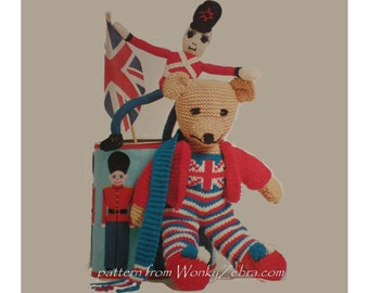 British teddy toy guardsman soldier toy and childs cardigan Vintage knitting toy Pattern PDF 058 Red White and Blue Toys from WonkyZebra