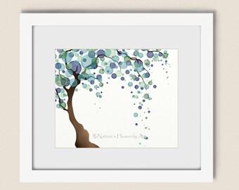 Blue Green Tree Art Print 8 x 10, Watercolor Art, Nature Wall Décor, Pastels, Willow Tree  (206)