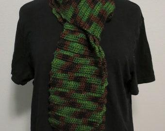 Crochet Ribbed Scarf in Camo
