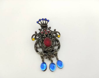 Royal Victorian Dress Clip Czech Glass Colorful and Large