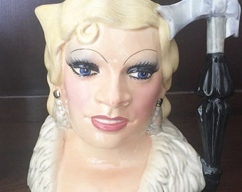 Royal Doulton Celebrity Collection Mae West Fine Art Ceramic Collectable Toby Jug 1980s.