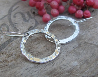 Silver Hoop Earrings, Hammered Sterling Silver Earrings, Dangle Earrings, Silversmith Jewelry, Fine Silver Earrings