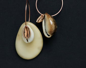 tagua nut and cowrie shell earrings - asymmetrical mismatched hoops - tropical jewelry - hammered copper