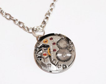 TISSOT Steampunk Necklace - Swiss Luxury Silver Vintage Watch Movement Men Steampunk Necklace Jewelry Wedding Gift for Him Fathers Day Gift