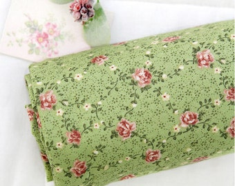 Cotton Fabric Flower Vine - Green - By the Yard 40375