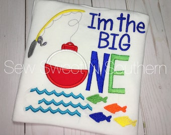 I'm the big ONE first birthday embroidered shirt, Bobber fishing shirt, Fishing pole shirt, Fishing birthday party, O'fishally one birthday.