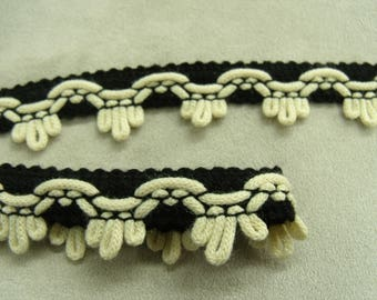 FANCY Ribbon - 2.3 cm - black & Cream