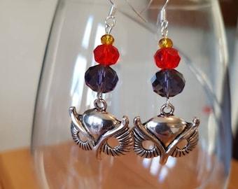 Owl mask glass bead earrings