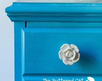 TWO sculpted porcelain white rose drawer knob / drawer pull