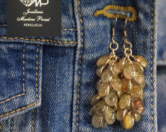 Earrings in silver and rutilated quartz