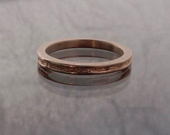14k rose gold rough center ring 2mm width