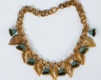 1930s art deco brass leaves dangle necklace / 30s vintage leaf and bells charm necklace