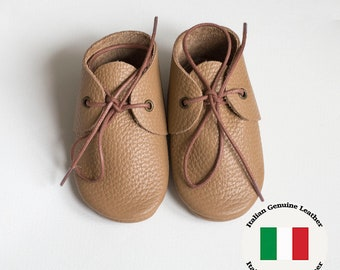 Cappuccino Baby moccasins with shoelaces, newborn