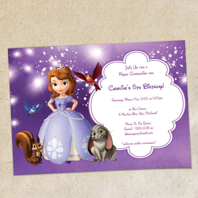 Sofia The First Party Invitation Template Instant Download
