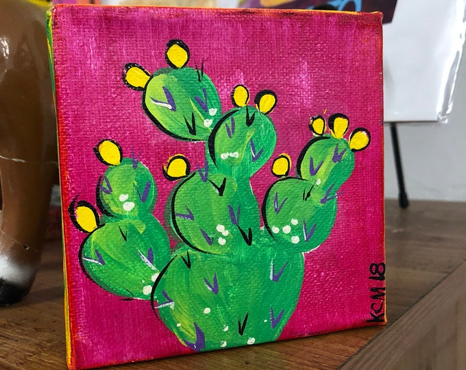 El Nopal Canvas Painting PINK