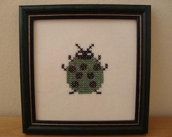 Ladybug Modern Cross Stitch Embroidery Handmade - Green - Ladybug Gift - Ladybug Birthday - Ladybug Baby Shower - Good Luck Gift