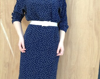 Vintage Navy/White Abstract Print Long-Sleeved Dress
