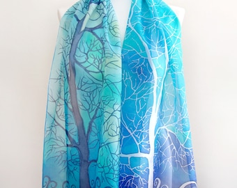 Mint blue silk scarf - Trees scarf hand painted - silk painting - light scarf - summer cool beach scarf - girlfrend's gift - mom gift silk