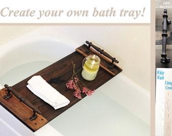 Bath Tray, Rustic Bath Caddy, Wooden Tray, Bathroom Decor, Rustic Decor, Farmhouse, Gifts For Her, Bath Tray With Handles, Housewarming Gift